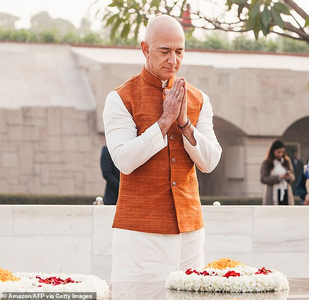 Bezos on Tuesday visited the Raj Ghat Mahatma Gandhi Memorial. His three-day trip to the country has been hit with controversy and protests