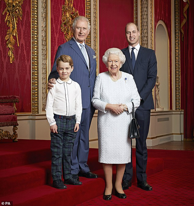Hurt: Brown says that Harry's feeling of being 'edited out' as a senior royal was made worse by the publication of a royal portrait of the Queen and her heirs: Charles, William, and George