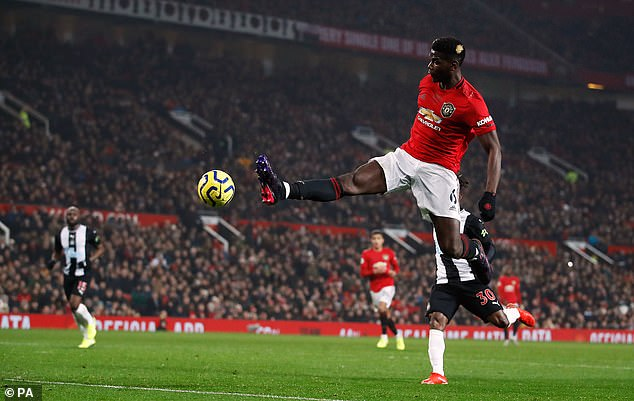 Pogba, pictured in action against Newcastle last month, is injured again after hurting his ankle