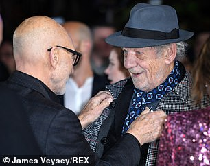 Glad to see you: Sir Patrick was ecstatic when his best friend arrived