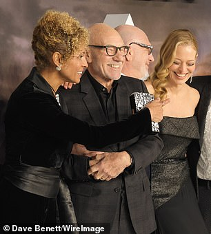 Friendly: Sir Patrick and his co-stars smiled brightly as they spent time together