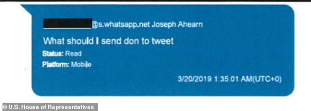 'What should I send don to tweet,' writes Joseph Ahearn, who is listed by pro-Trump super PAC America First Policies as director of development, to Parnas