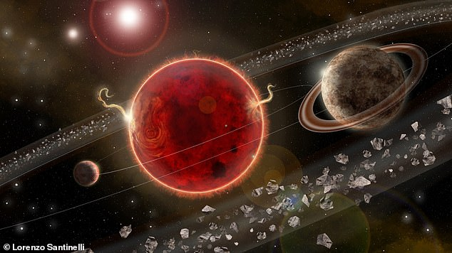 Artist's rendering of Proxima Centauri system. Portrayed on the right, Proxima c orbits in about 5.2 years around its host star. The system also comprises the smaller Proxima b, on the left, discovered in 2016 that orbits in the 'habitable zone' closer than Mercury is to the Sun