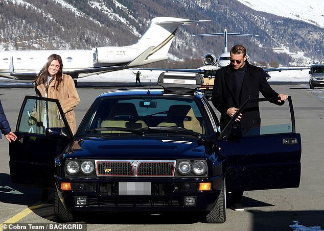 Exciting times ahead: Dasha Zhukova and Stavros Niarchos landed in the tourist town of Switzerland, St. Moritz, on Monday, before their star-filled wedding this weekend