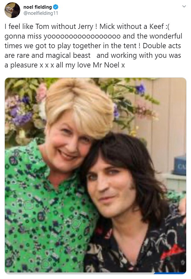 Co-star Noel Fielding said: 'I feel like Tom without Jerry ! Mick without a Keef :( gonna miss yooooooooooooooooo and the wonderful times we got to play together in the tent ! Double acts are rare and magical beast and working with you was a pleasure x x x all my love Mr Noel x'