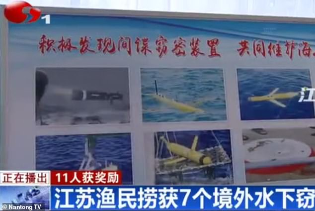 Footage from a Chinese TV report shows the national security authority displaying pictures of the sevenalleged espionage devices, which were said to have been found off the eastern coast