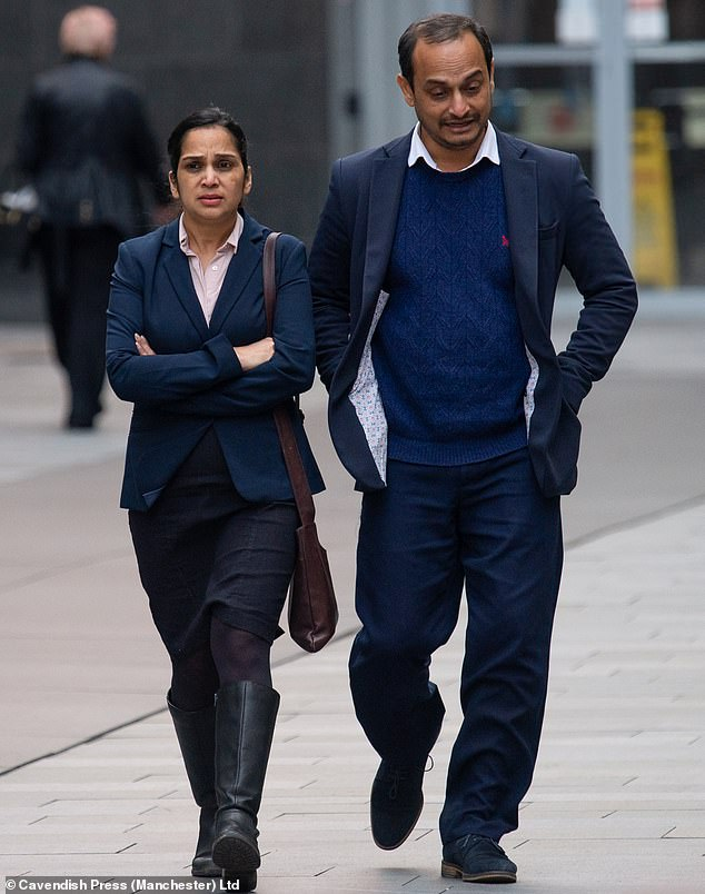 Nethra Kore, 39, seen with her senior NHS nurse husband Shishir outside Manchester Magistrates' Court, was found to be one and a half times over the alcohol limit after police stopped her Daewoo Matiz at 1.30am on a Sunday morning