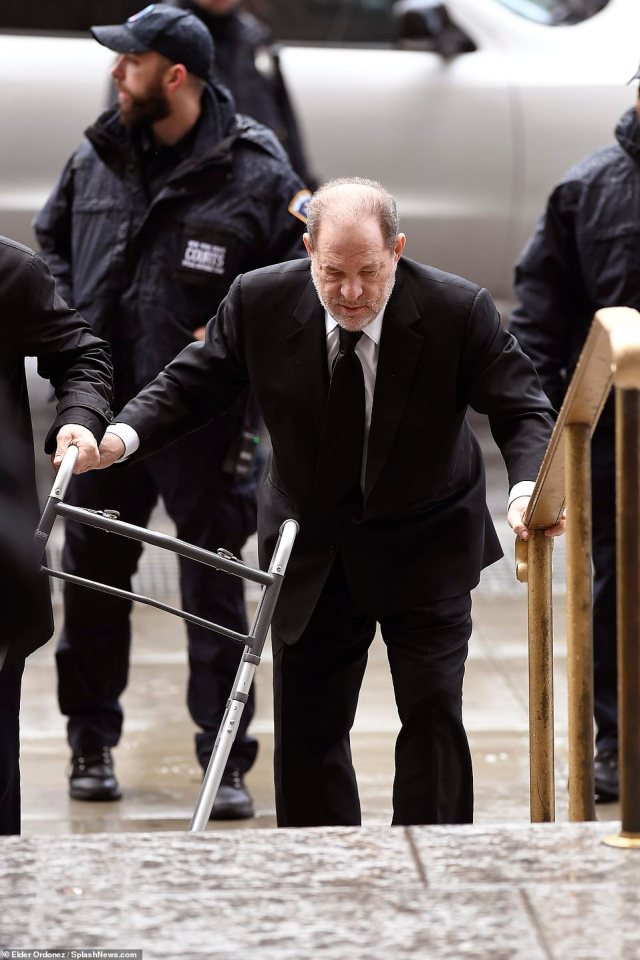 Weinstein, 67, is accused of raping a woman in a Manhattan hotel room in 2013 and sexually assaulting another in 2006. The former studio boss behind such Oscar winners as 'Pulp Fiction' and 'Shakespeare in Love' has said any sexual activity was consensual. He is pictured arriving at court on Thursday