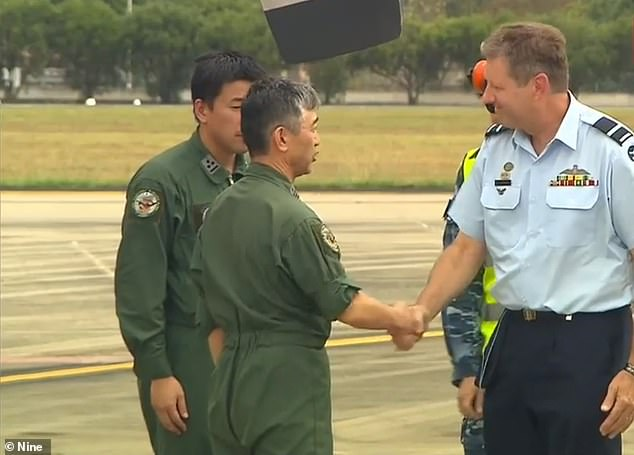 Air commodore Carl Newman (pictured) of the Royal Australian Air Force said the two Hercules C130 transport planes would be 'vital' to help fight violent fires.
