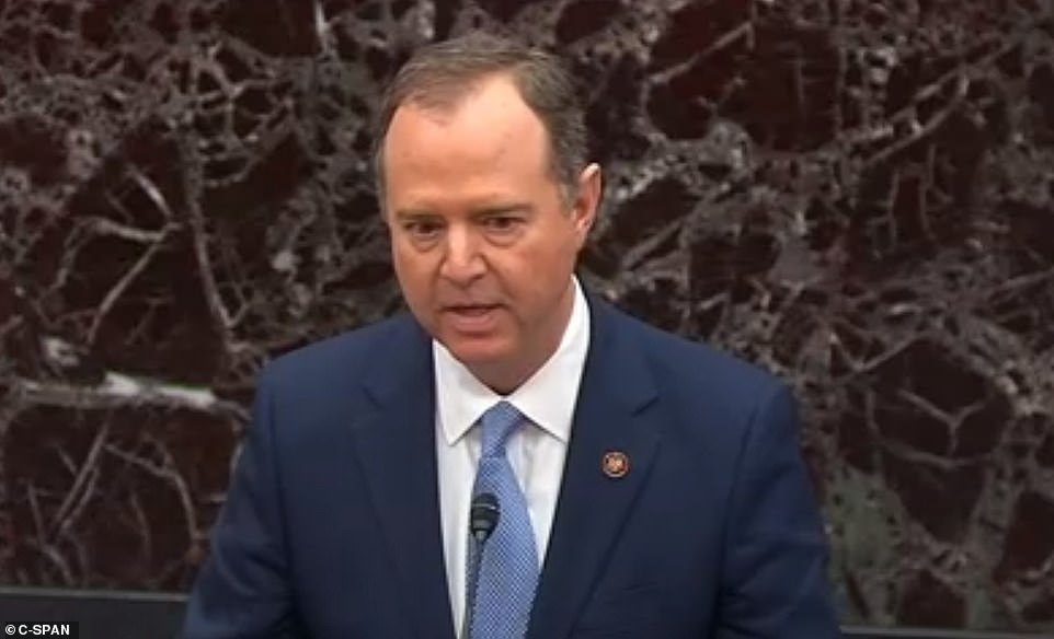 Adam Schiff, the lead Democratic impeachment manager began to read the resolution from Congress which impeaches 'Donald John Trump.'