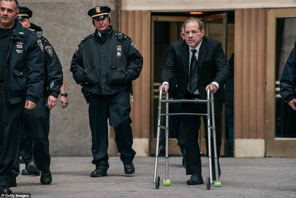 Harvey Weinstein leaves New York City Criminal Court during a break in jury selection on Thursday