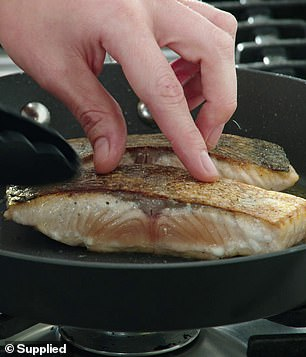 Josh isn't the only chef with tricks for creating crispy skin, with MasterChef Australia star Georgia Barnes making crispy skin salmon by first patting the fillet down with a paper towel to remove moisture