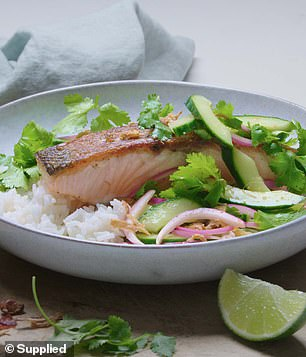 'There's an even cooked line in the salmon, with a pink middle and crispy skin. That's exactly what we want, a perfectly cooked piece of salmon,' she said, before resting it for five minutes and serving