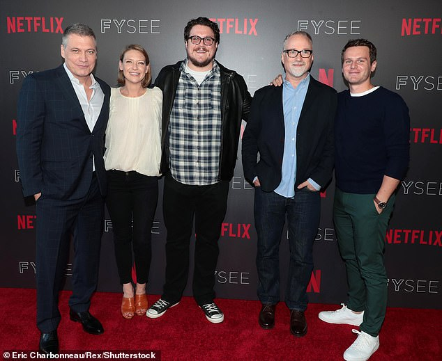 Moving on: Mindhunter showrunner David Fincher wants to focus on other Netflix projects. Fincher is pictured second from right with McCallany, Anna Torv, Cameron Britton and Groff