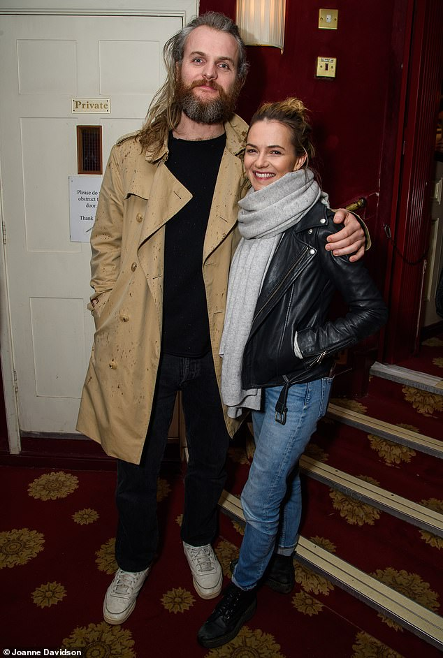 Date night:Kara Tointon and fiancé Marius Jensen enjoyed a rare date night as they attended the Dial M For Murder press night at London's Richmond Theatre on Thursday
