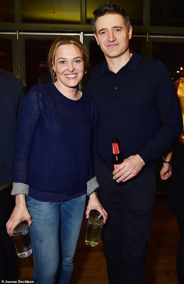 Time to celebrate: Death in Paradise actress Sally Bretton and Holby City's Tom Chambers enjoyed the social occasion