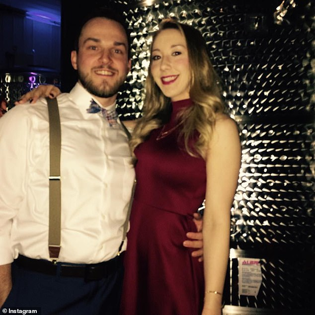 The waitress alleged that Aimers (pictured with his wife, Kayla) propositioned her, offering $100. After she refused his advances, he allegedly followed her into the ladies' bathroom and cornered her in a stall