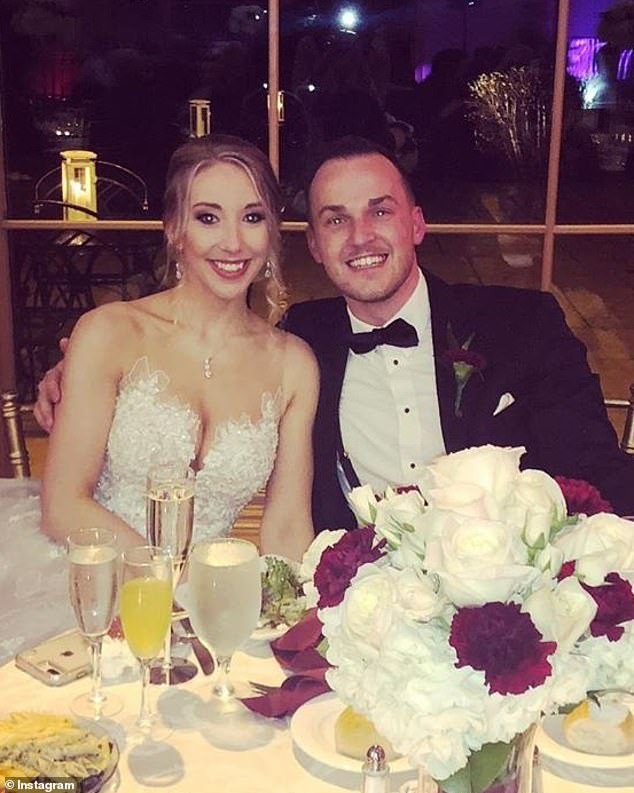 Aimers (seen above with wife Kayla at their wedding in Northampton Valley Country Club in Richboro in November 2018) is alleged to have sexually assaulted an underage waitress during his own wedding reception