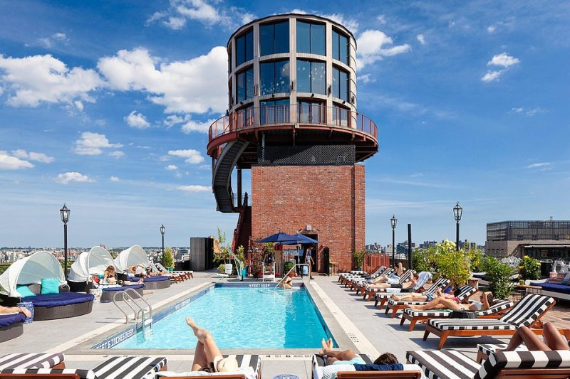 At one end of the pool is the remarkable water tower bar - undoubtedly one of the most unique in the district