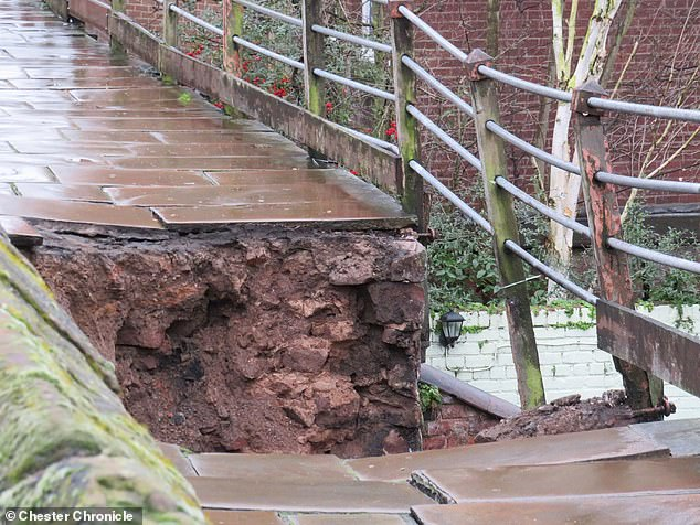 No one was injured as a result of the subsidence and investigations are under way to establish the exact cause, according to Cheshire West and Chester Council