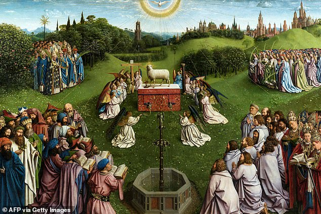 Pictured is part of Van Eyck's painting Adoration of the Mystic Lamb - also known as The Ghent Altarpiece because it was commissioned for St Bavo's Cathedral in the city