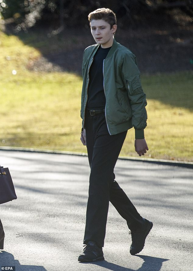 On the go: Barron Trump, 13, was seen leaving the White House with his father, President Donald Trump, and mother, first lady Melania Trump, on Friday afternoon