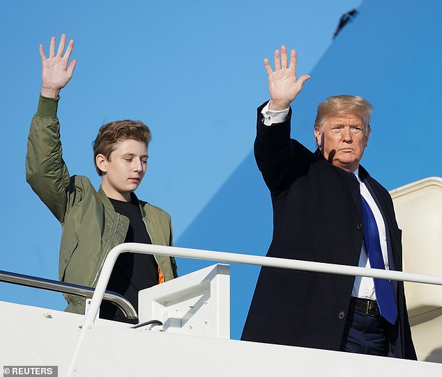 His turn: Barron took a cue from this father and also waved goodbye