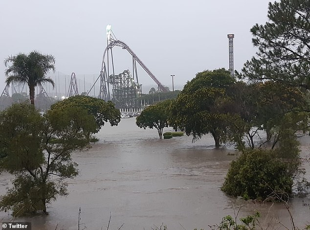 Theme parks MovieWorld and Wet'n'Wild Gold Coast were shut on Saturday due to the flooding (pictured)