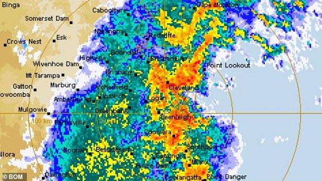 Torrential rain pelted Southeast Queensland as this rain radar image shows