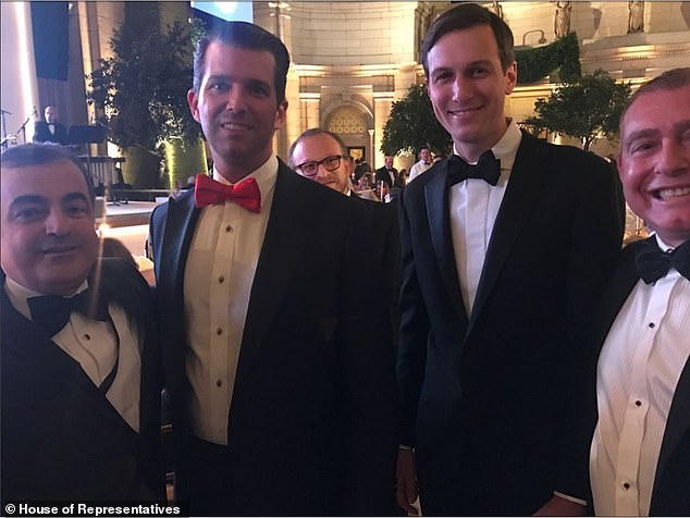 Parnas (far right) poses with Jared Kushner, Don Trump Jr, and an unidentified man