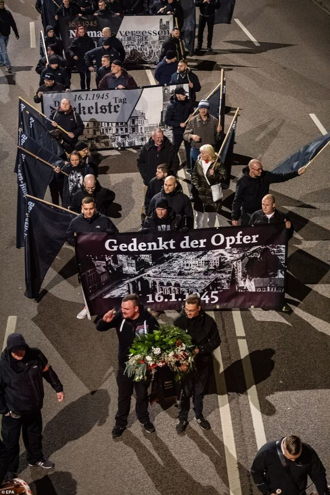 Hundreds of far-right Nazi activists marched through the streets Magdeburg which was levelled by the RAF in a raid that killed up to 2,500 people