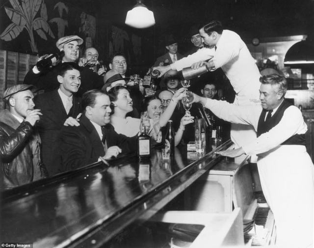 For over 13 years, there was an effective ban on alcohol throughout the US, starting on January 17, 1920, when the 18th Amendment went into effect. But by the time Franklin D Roosevelt took office, much of the country was ready to imbibe once again. When he signed the Beer and Wine Revenue Act on March 22, 1933, it was to the elation of many. That act went into effect on April 7 and the 18th Amendment was officially repealed on December 5, 1933. Above, a round of drinks on the house at a Chicago bar to celebrate.