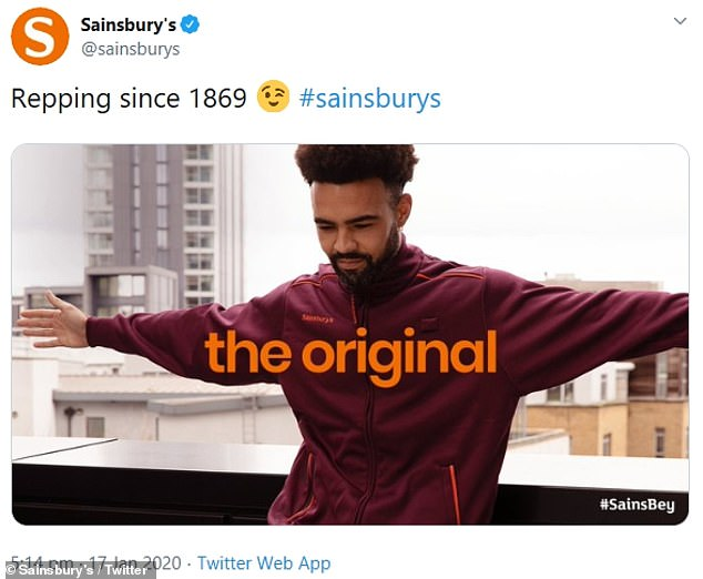 The original: Sharing a picture of one of their workers in the iconic maroon and orange outfit, Sainsbury's wrote: 'Repping since 1869' and added the caption: 'The Original'