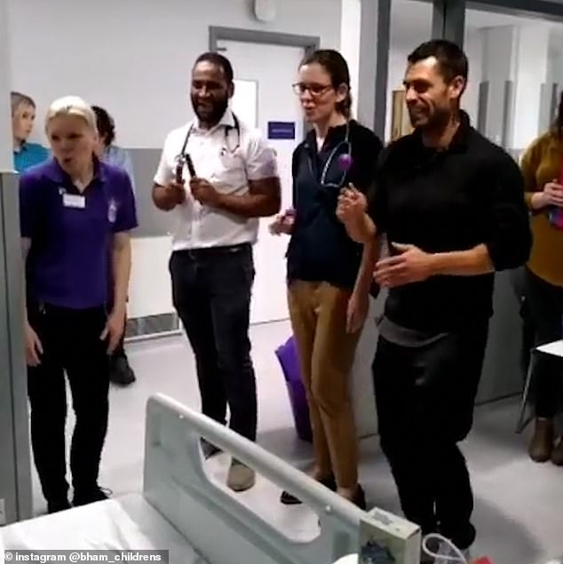 Shake it: They captioned the adorable video of his visit: 'It's a 10 from us! We've just had a very special visit from Strictly winner and former Emmerdale actor, @Kelvin_Fletcher!'
