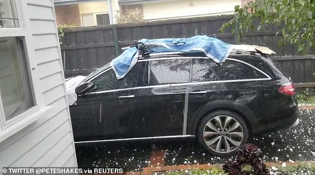 The severe thunderstorm came so quickly some residents weren't able to cover their cars in time with reports of cars being damaged on the Monash Freeway