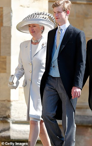 Pettifer has also remained close to both the royals and attended Harry's wedding with her son Tom (right) who is also Harry's godson