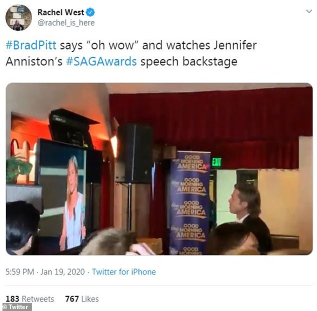 Gracious: Rachel West of Entertainment Tonight has tweeted a video showing Brad watching Jennifer's speech on a backstage monitor