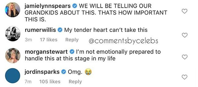 Jamie Lynn Spears, Britney's actress sister, Rich Kids of Beverly Hills star Morgan Stewart, Once Upon a Time in Hollywood's Rumer Willis and songstress Jordin Sparks all posted replies to the photo on Instagram.