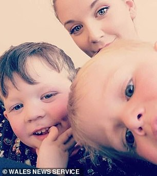 Zach's four-year-old brother Harley (pictured with Zach and mother Erin Harvey) is being treated in hospital
