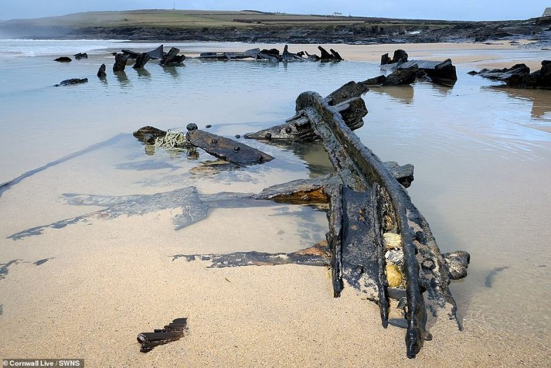 Parts of the ship are exposed every year during storms, but locals say 2014 saw more of the ship exposed than in any previous year
