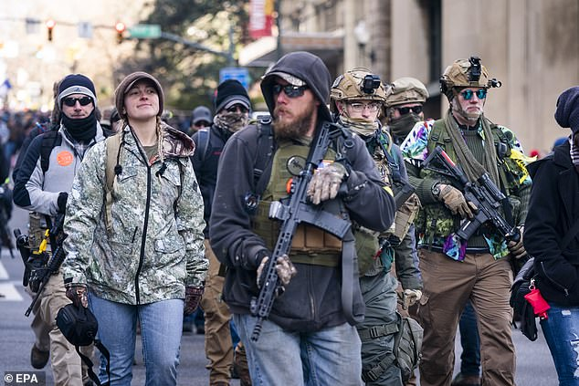 Gun-rights supporters gather for a rally outside the Virginia state capitol in Richmond, Virginia, on Monday, which also attracted militia members, white supremacists, and other far-right extremists