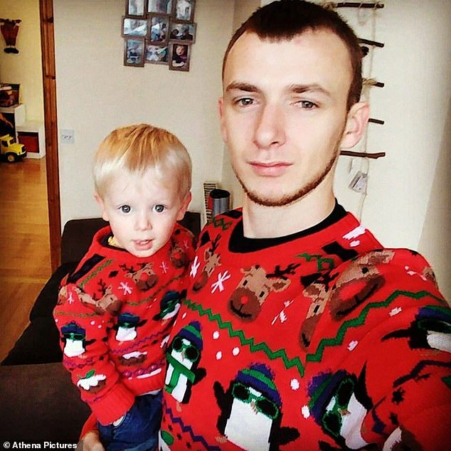 Father Shaun Harvey (pictured with son Zach), 28, was unable to reach his three-year-old son Zach in the caravan blaze in the village of Ffair-Rhos, near Aberystwyth, Cardiganshire