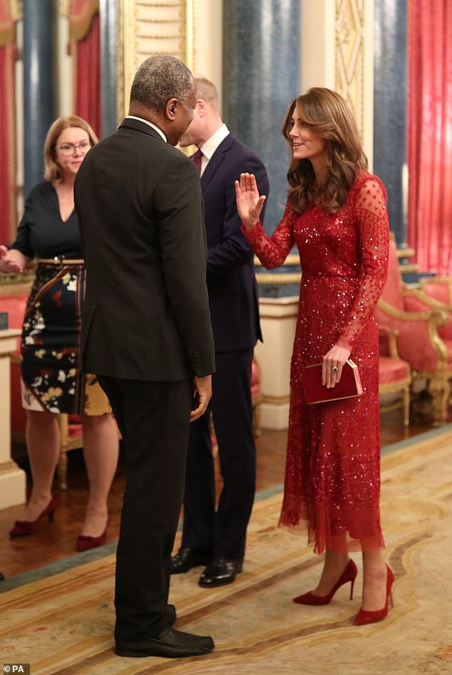 Kate (pictured) completed her outfit with a glamorous clutch bag and a pair ofGianvito Rossi heels, costing £510