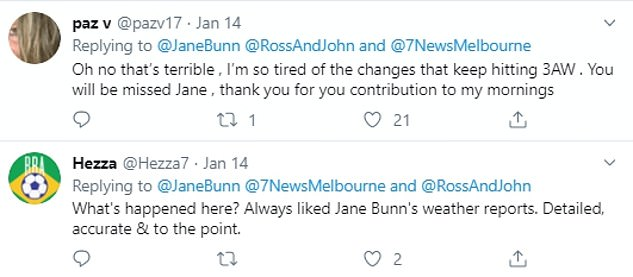 'It's their loss, Jane. You're a legend': Hundreds of listeners expressed their outrage on Twitter, with many accusing 3AW of dismissing its most valuable asset