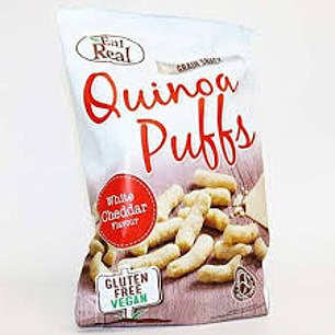 Real quinoa corn puffs white cheddar, 50p for 40g, morrisons.com