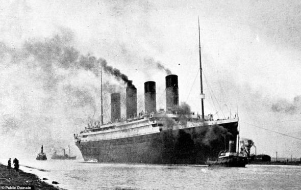 Constructed by Belfast-based shipbuilders Harland and Wolff between 1909 and 1912, the RMS Titanic was the largest ship afloat of her time. Pictured, the Titanic undergoes sea trials