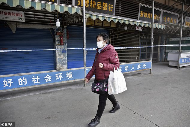 Viruses – including ones carried by animals – are constantly changing and may over time become strong enough to infect humans. Pictured, a woman wears a mask while passing the closed market in Wuhan where the outbreak started