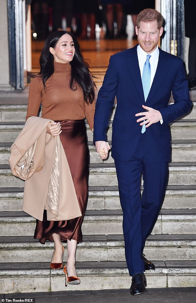 Meghan's father says he suspects the Duke and Duchess of Sussex will never speak to him again. Pictured, Prince Harry and Meghan visiting Canada House in London on 7 January 2020