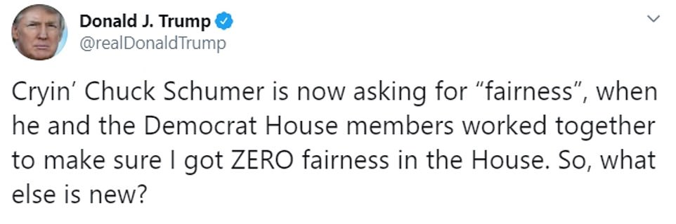 Trump complained he got 'ZERO' fairness in the House inquiry