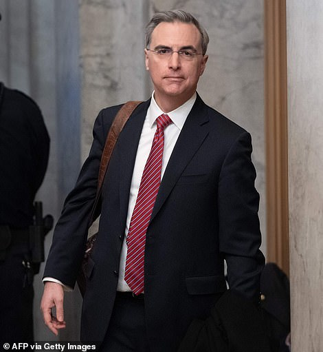 White House Counsel Pat Cipollone arrives for the Senate impeachment trial of US President Donald Trump at the US Capitol in Washington, DC, January 21, 2020. Democrats complained that he is also a fact witness to the case